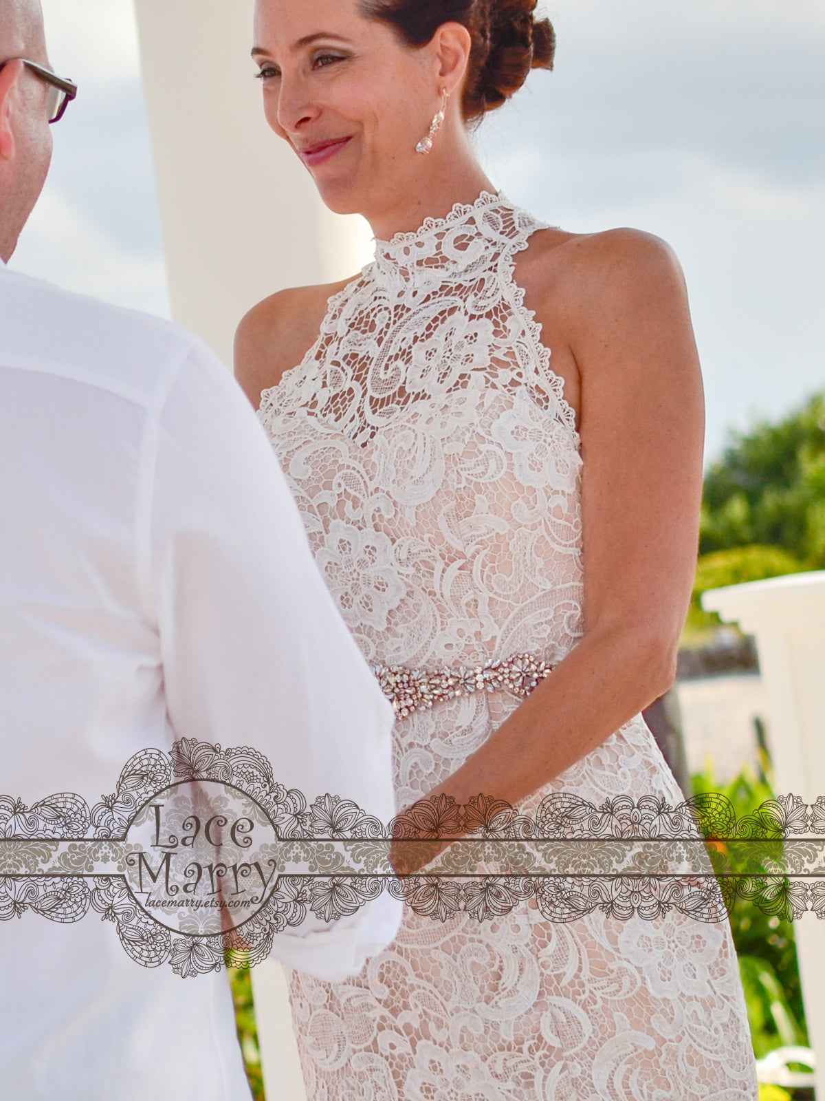 Guipure Lace Wedding Dress with Halter Collar