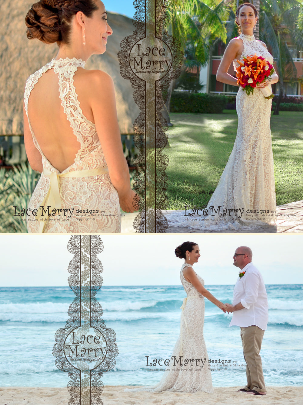 Gorgeous Venice Lace Wedding Dress in Slim Shape with Small Train