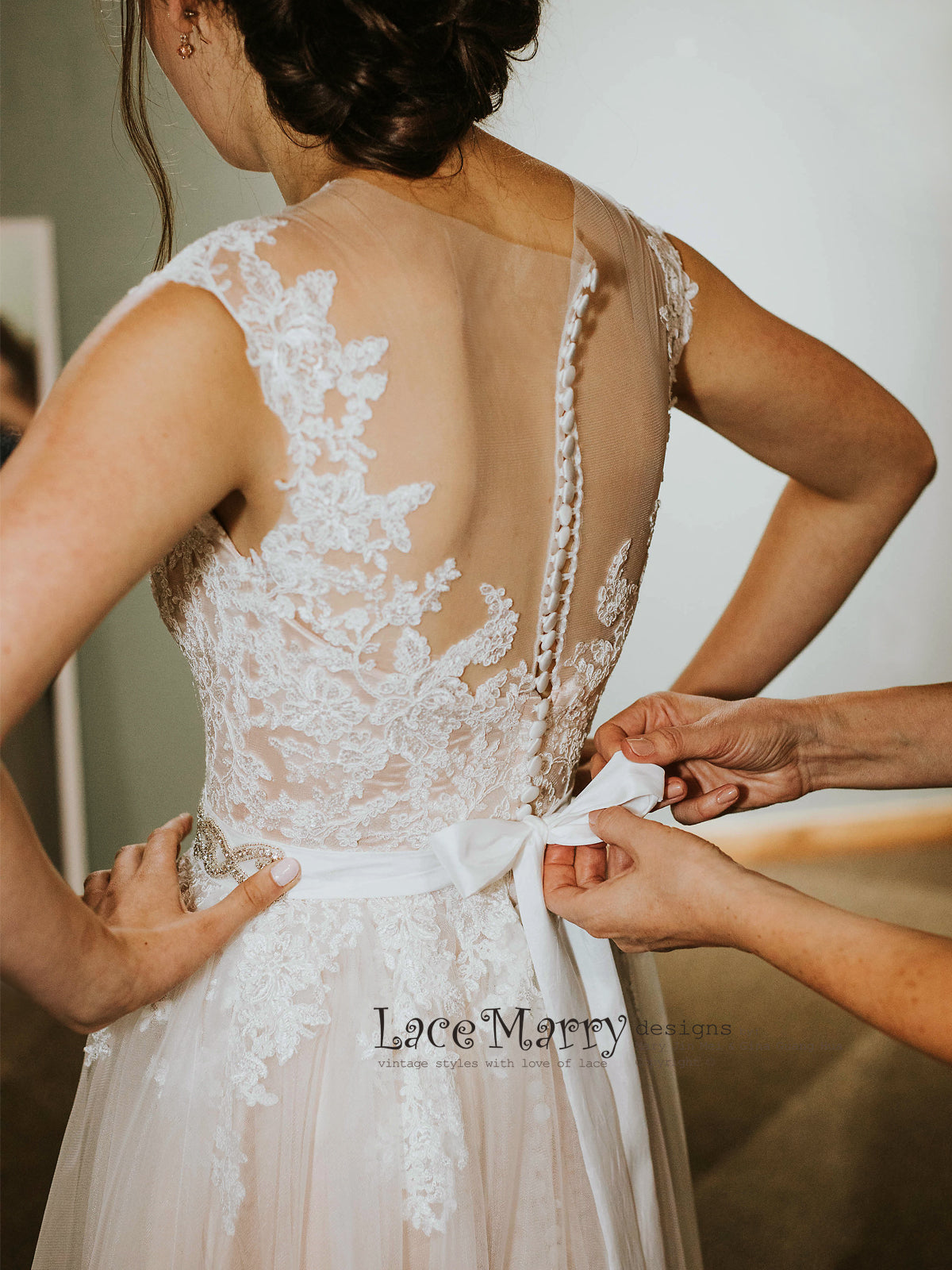 Wedding Dress with Sheer Back and Buttons