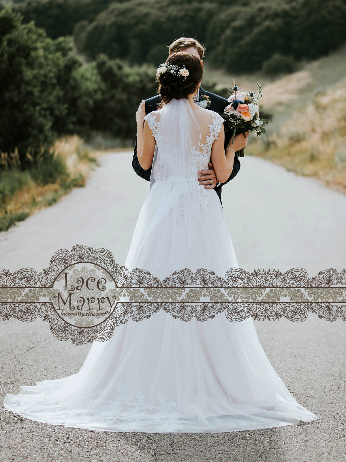 Lace Wedding Dress with Small Train
