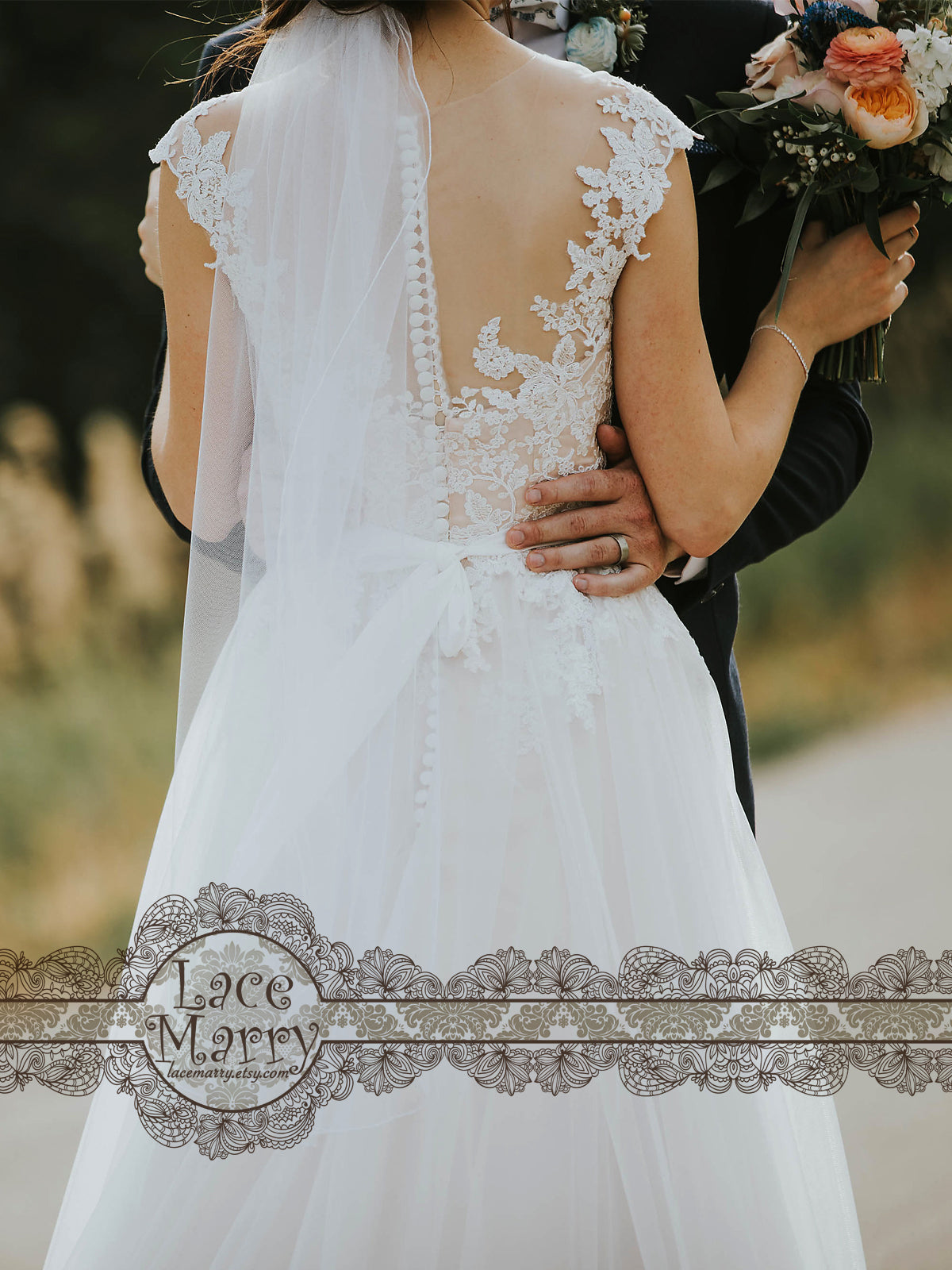 Wedding Dress with Sheer Back and Lace Appliques
