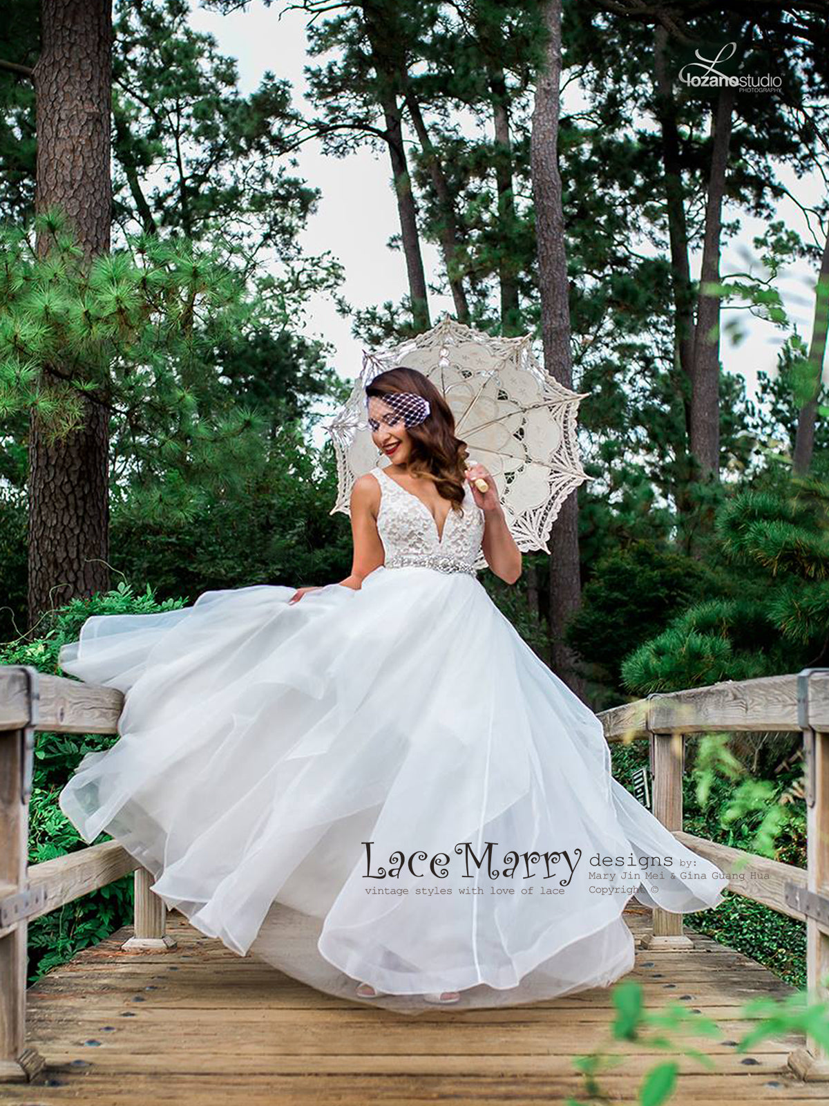 Airy A Line Wedding Dress with Lace Top with Deep V
