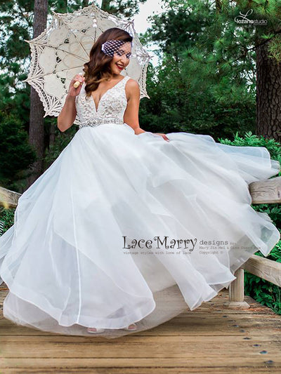 Lace Wedding Dress with Organza Skirt with Wide Hemmed Edge