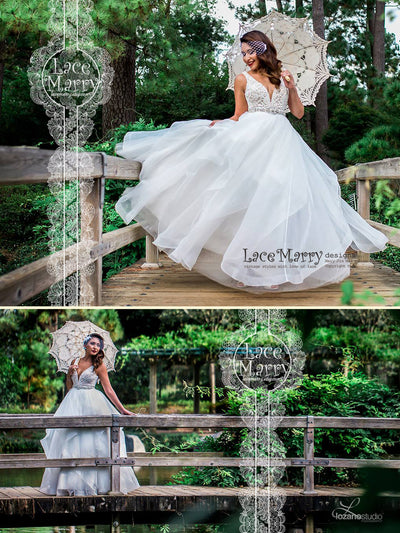 Elegant Airy Lace Wedding Dress with Multi Layered Organza Skirt