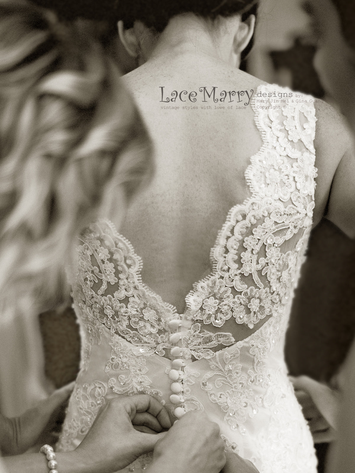 Wedding Dress with Scalloped V Cut Back and Buttons