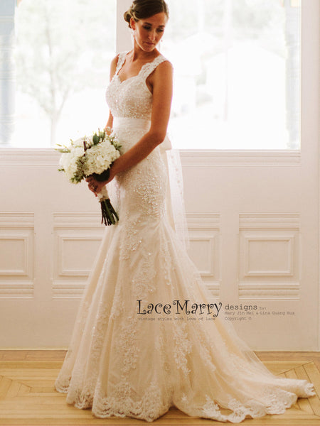 Beaded Lace Wedding Dress in Fit and Flare Shape