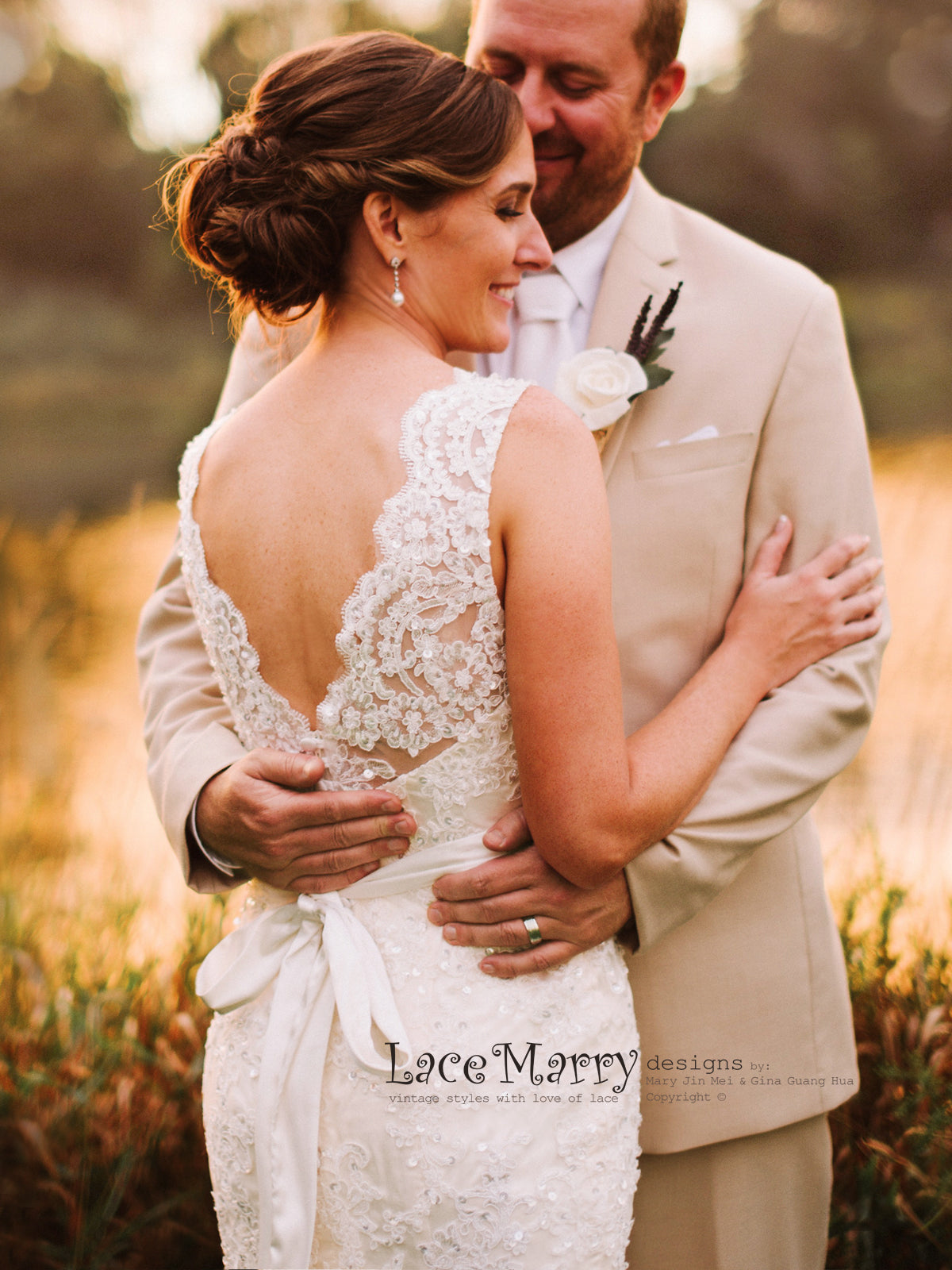 Beaded Lace Wedding Dress in Fit and Flare Shape with Sweetheart ...