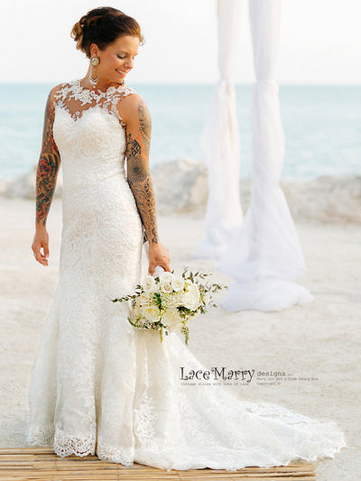 Fitted Lace Wedding Dress With Hand Sewn Appliqué