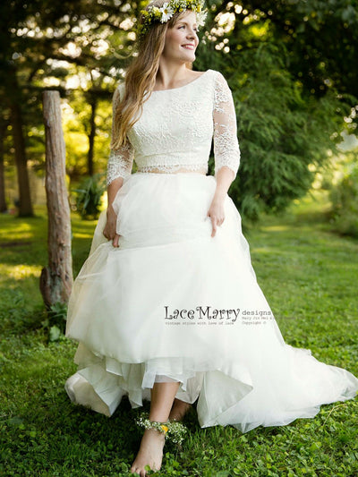 Two Piece Lace Wedding Dress with Long Lace Sleeves and Multiple Layer Skirt