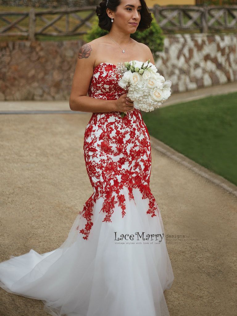 Beautiful Red Lace Wedding Dress —� –�: Vintage Red White Wedding Dresses At Reisefeber.org