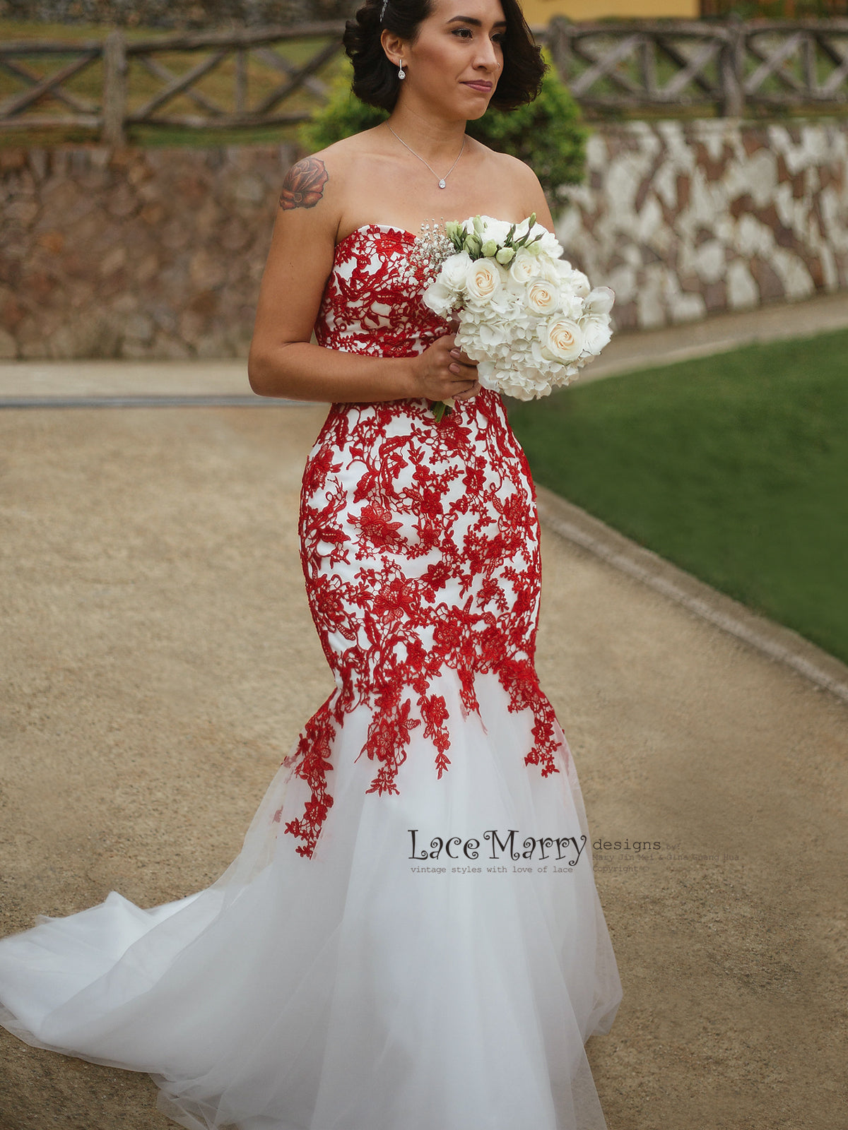 Red Lace Wedding Dress with Ivory Tulle