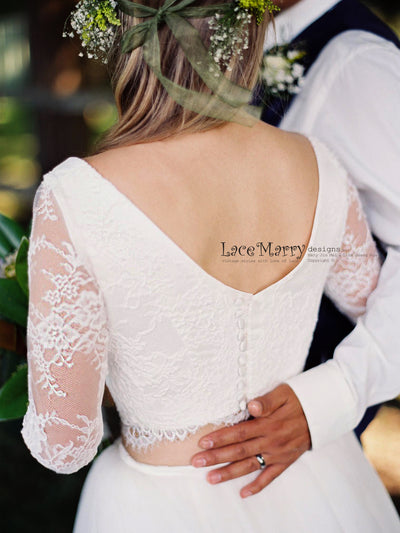 Two Piece Wedding Dress with Long Sleeves