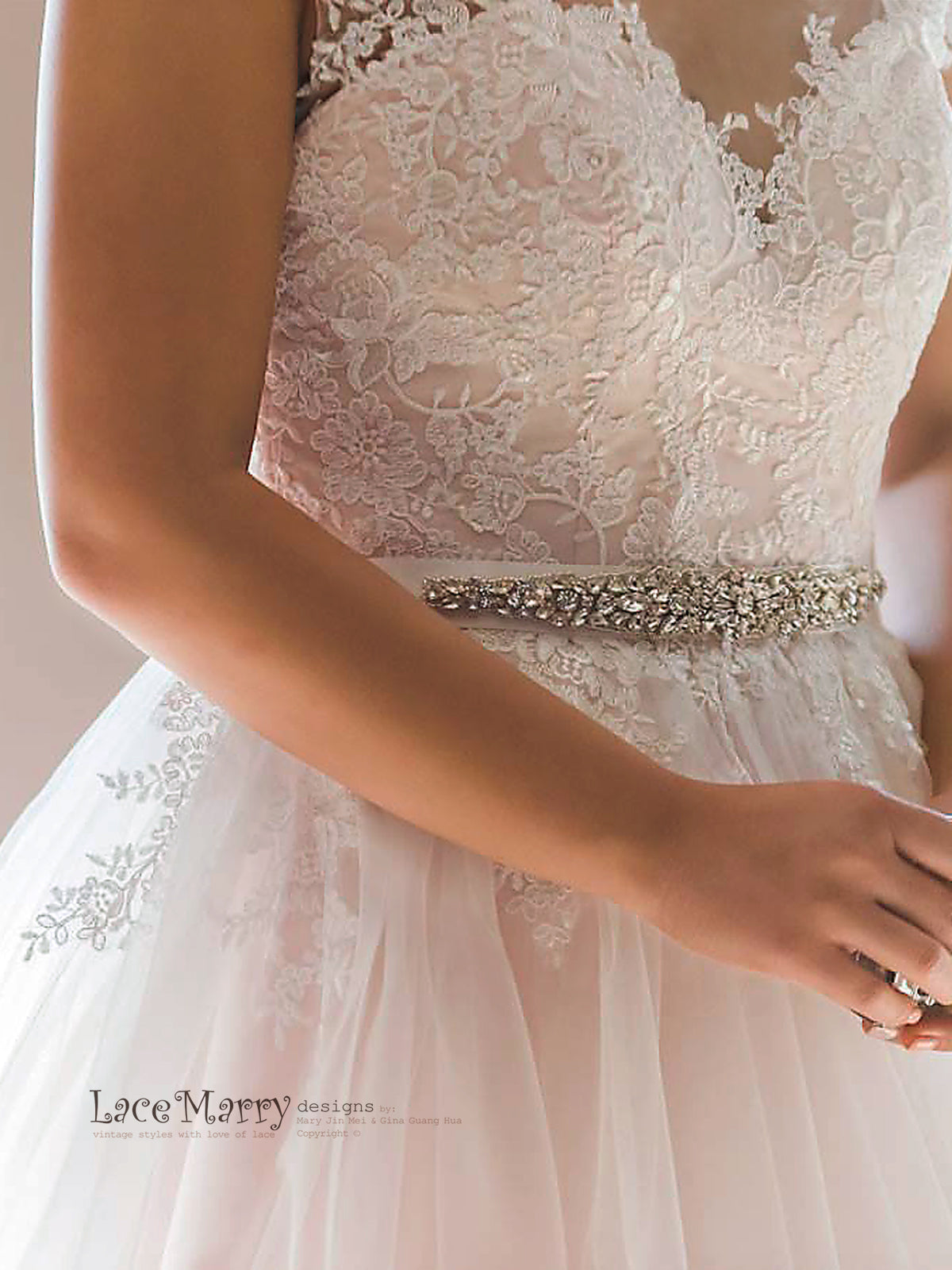 Blush Satin and Soft Lace Applique Boho Wedding Dress