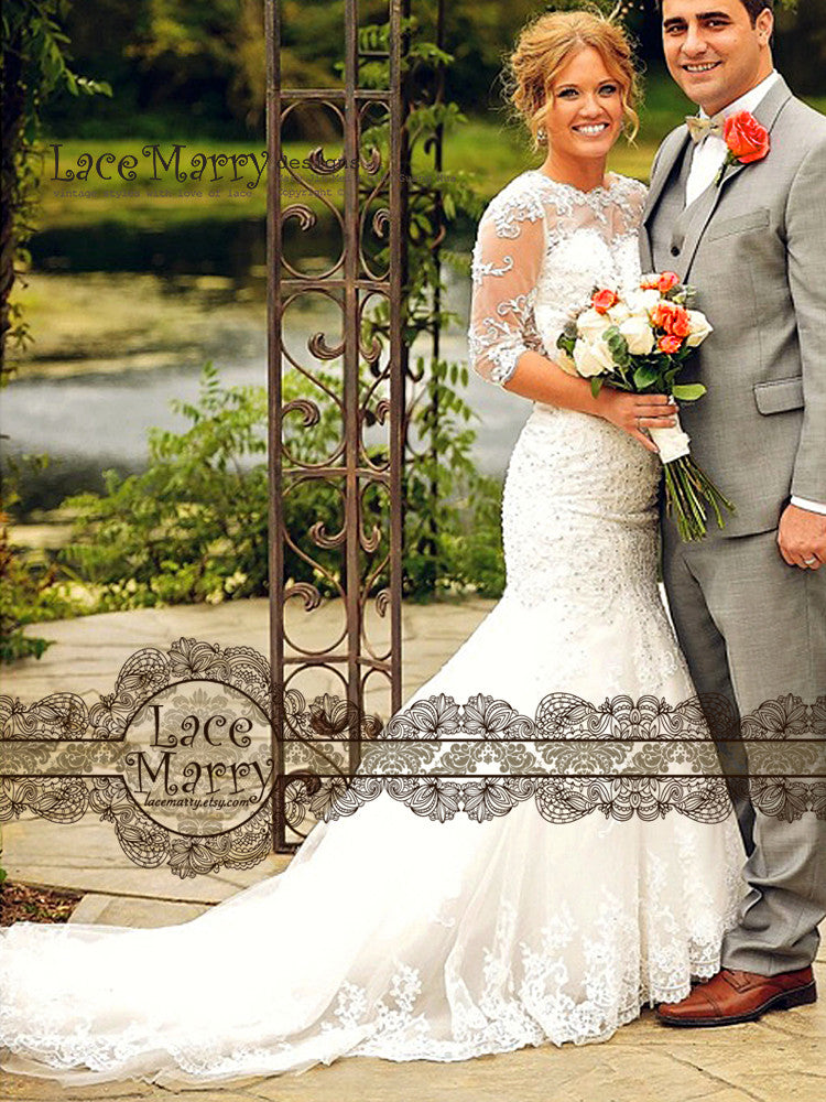 Long Sleeves Elegant Wedding Dress