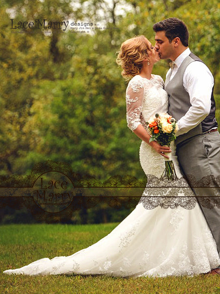 Trumpet Wedding Dress with Long Sleeves