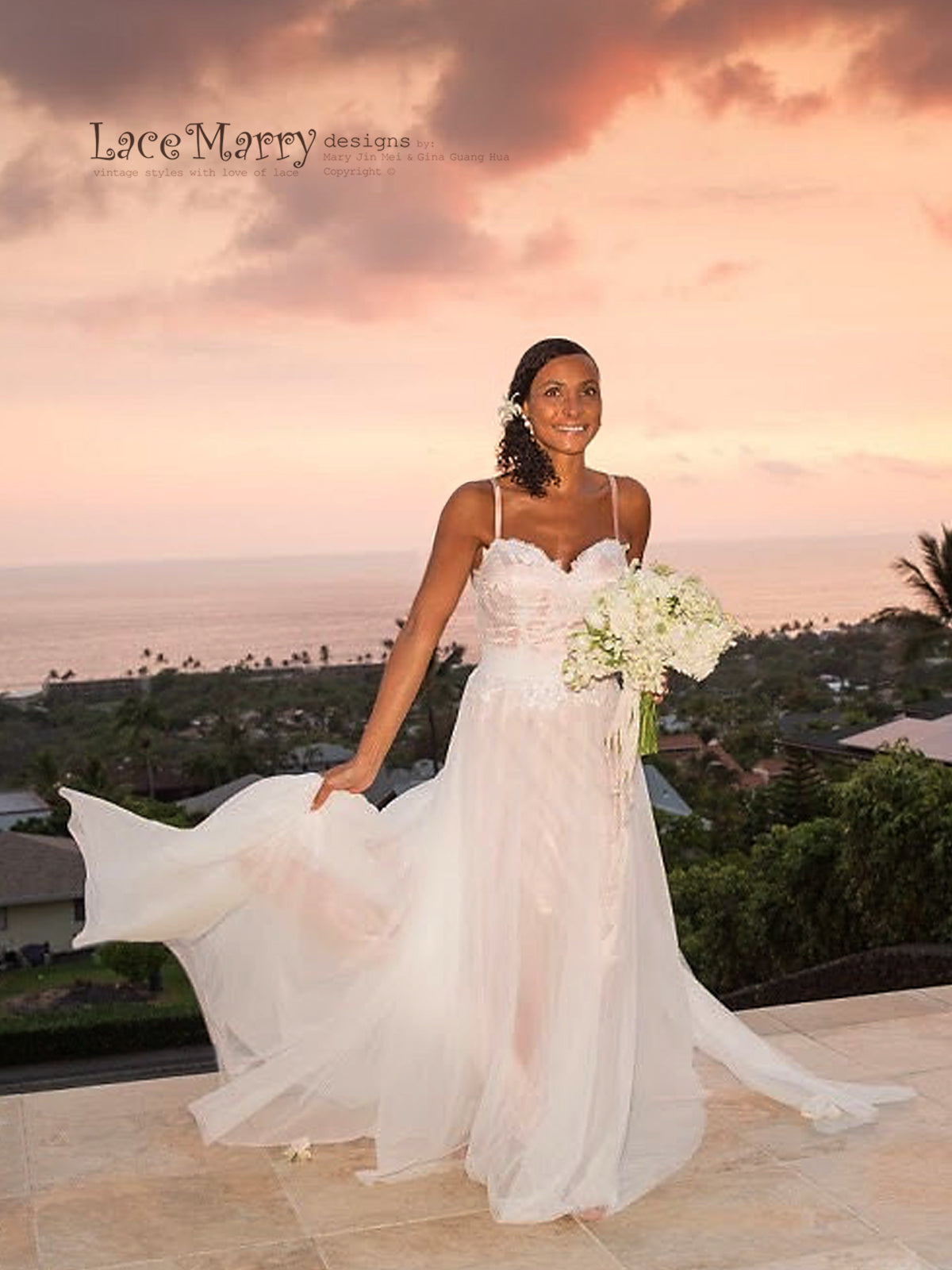 Rose Gold Beach Wedding Dress from Lace and Soft Tulle