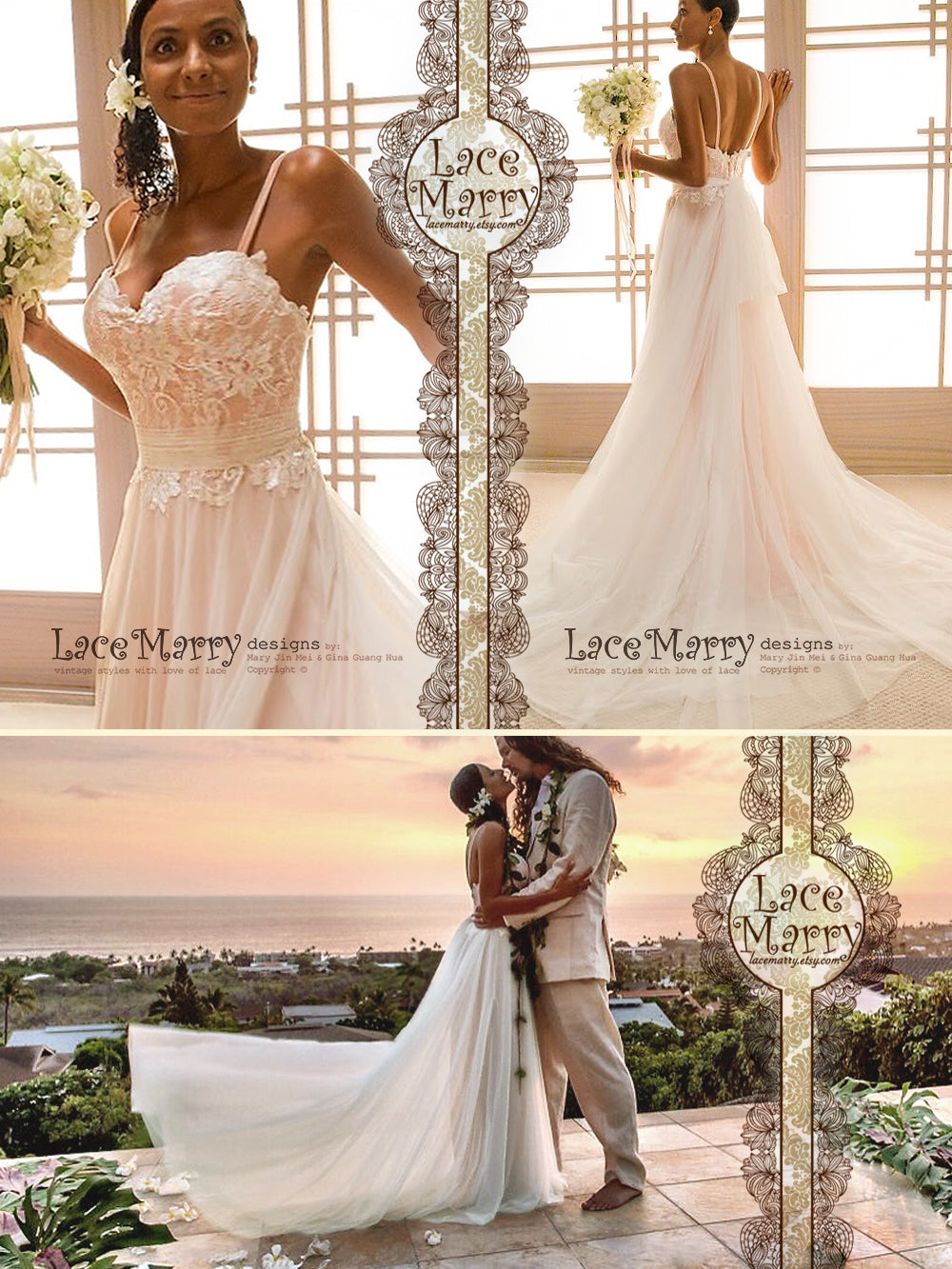 Rose Gold Beach Wedding Dress From Lace And Soft Tulle In Relaxed