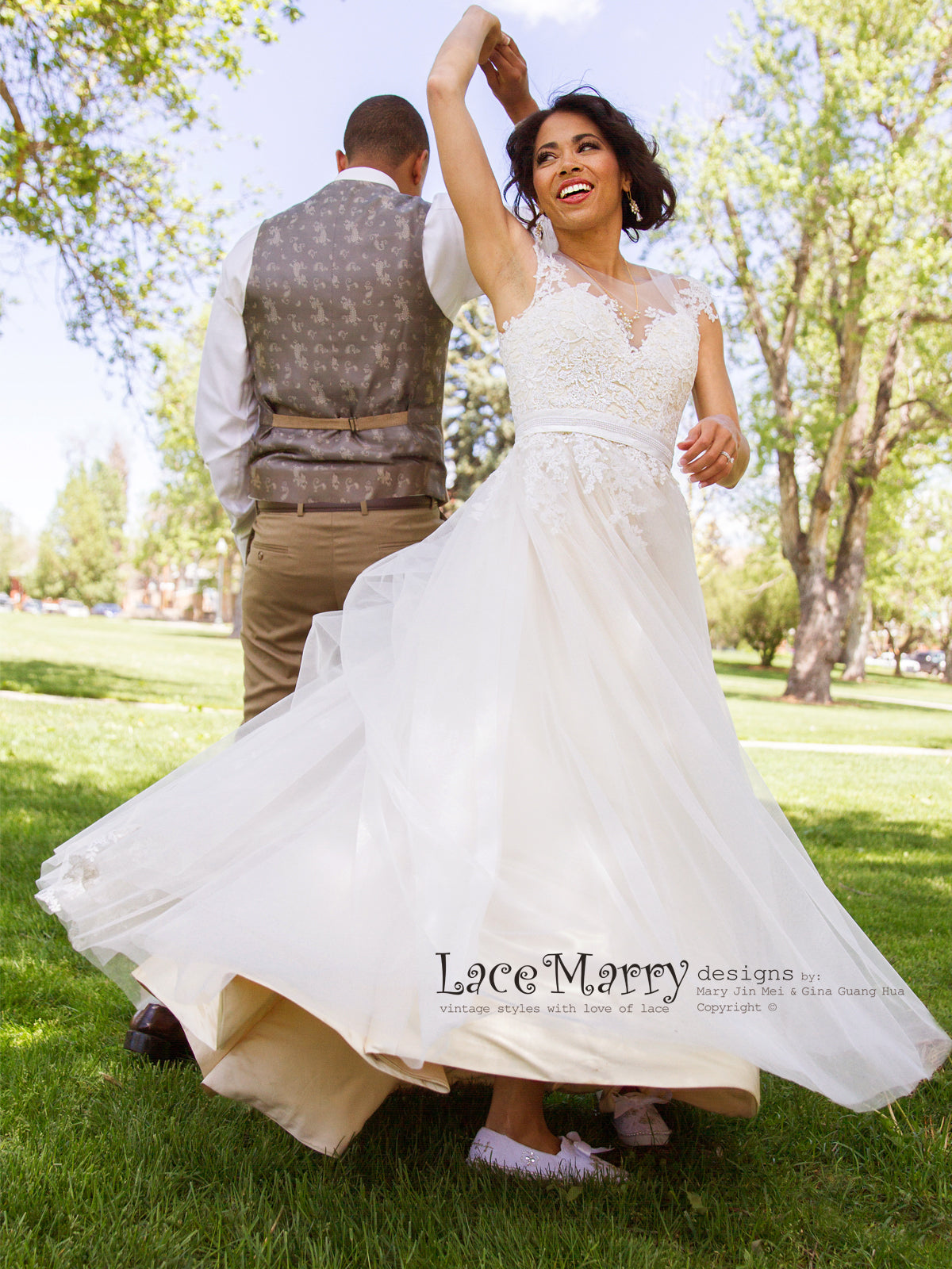 Boho Lace Wedding Dress From Airy Tulle Cream Champagne Silk Satin