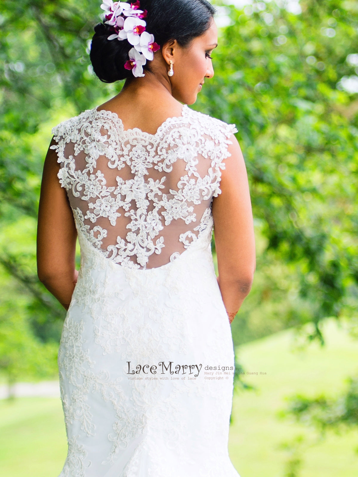Unique Lace Wedding Dress with Dipped Illusion Neckline and Sheer Open Back Design in Fitted Trumpet Shape with Beautiful Chapel Train