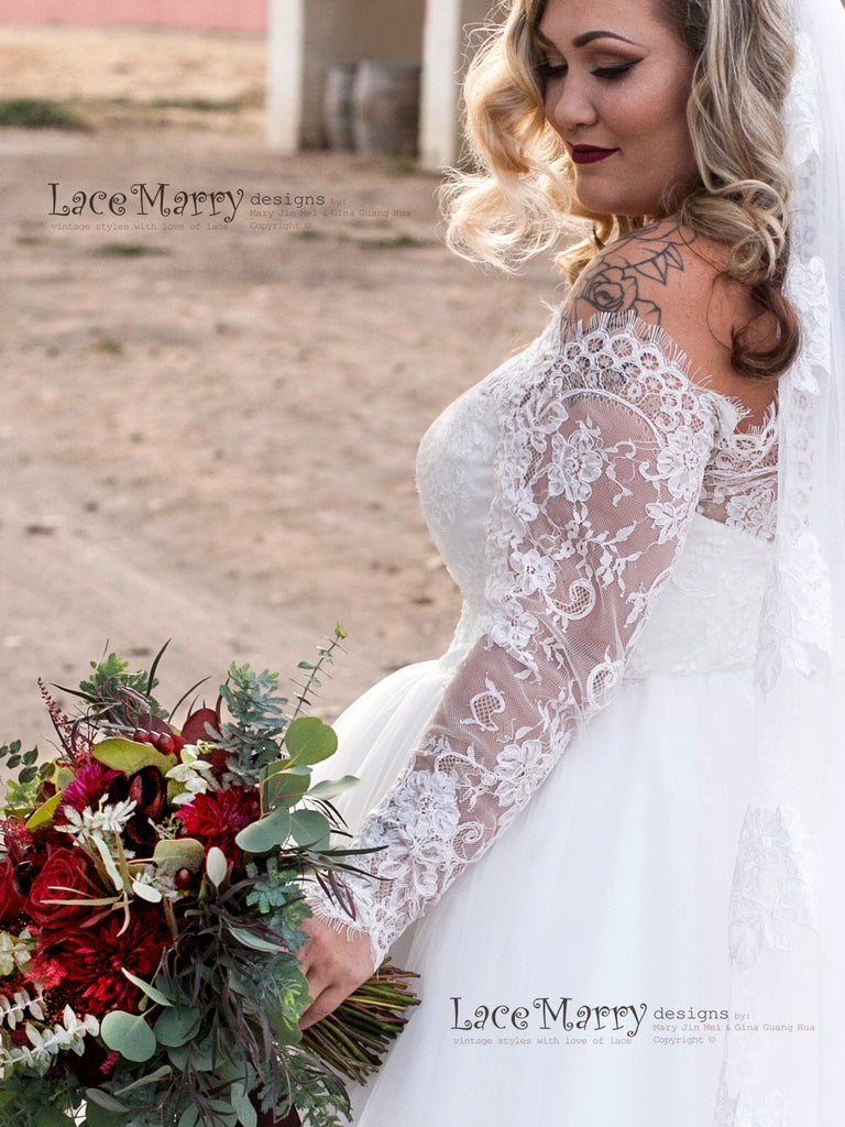 dd837b83528 ... Off Shoulder Wedding Dress with Princess Tulle Skirt  Wedding Dress  with A Line Skirt and Small Train. ◅  ▻