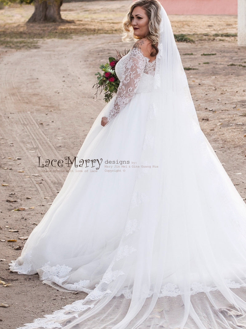 Off Shoulder Wedding Dress with Princess Tulle Skirt