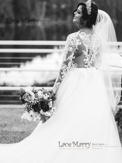 Lace Bridal Wedding Dress with Removable Over Skirt