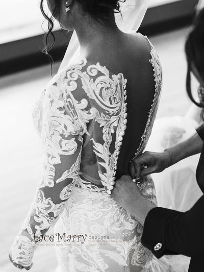 Lace Bridal Wedding Dress with Buttons on the Back