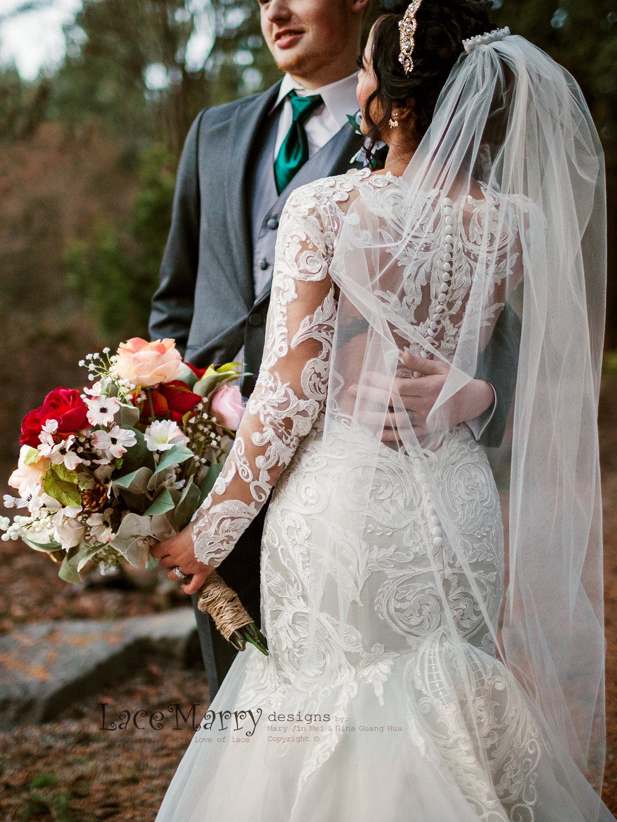 Mermaid Style Lace Wedding Dress with Long Lacy Sleeves