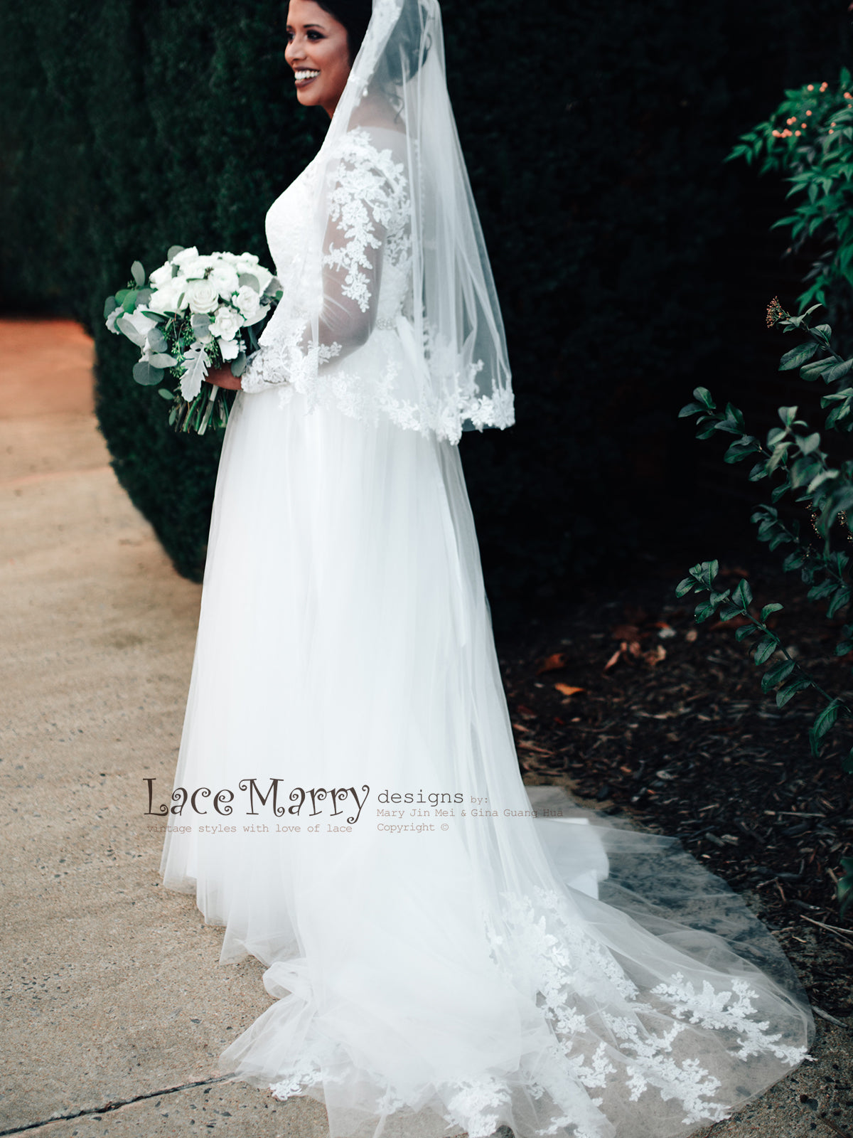 Lace Train Wedding Dress with Matching Lace Veil