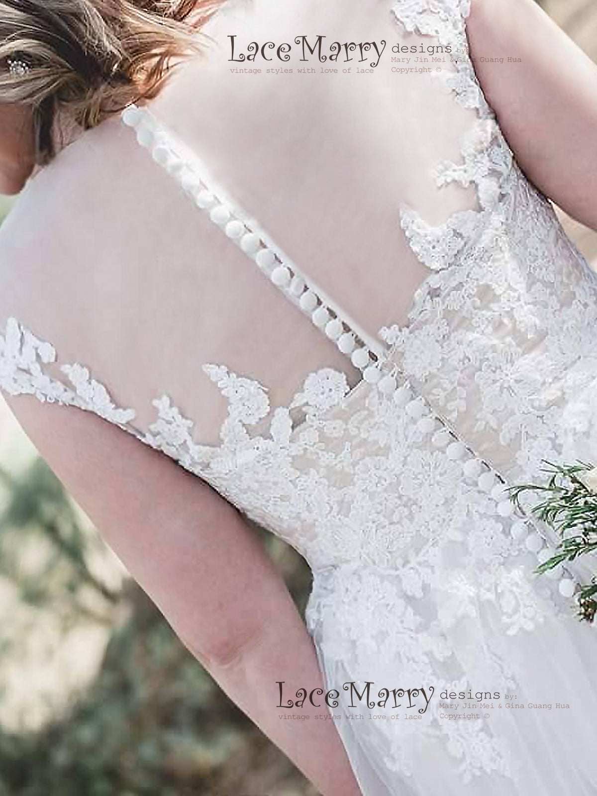 Soft Lace Applique Boho Wedding Dress