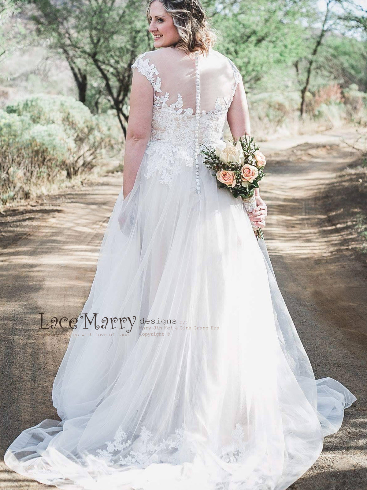 Illusion Back Boho Wedding Dress