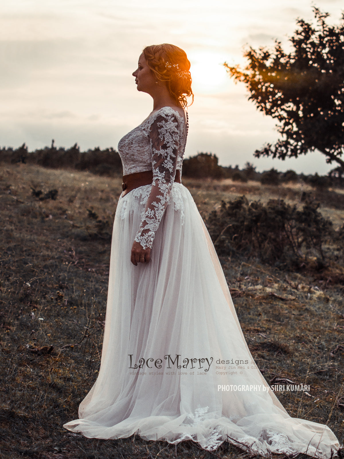 Long Lace Sleeves A Line Boho Wedding Dress