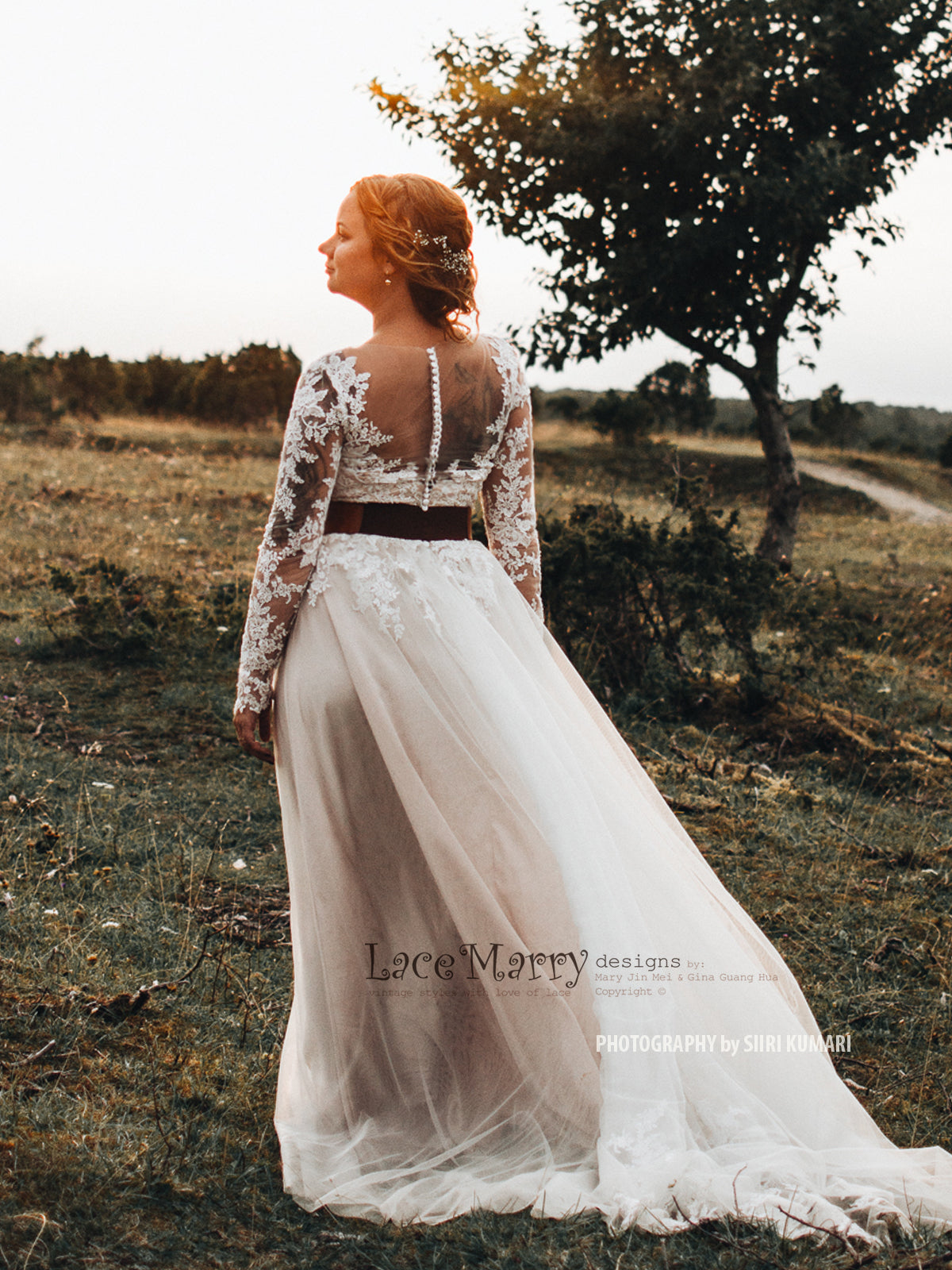 Lace Boho Wedding Dress with Illusion Back