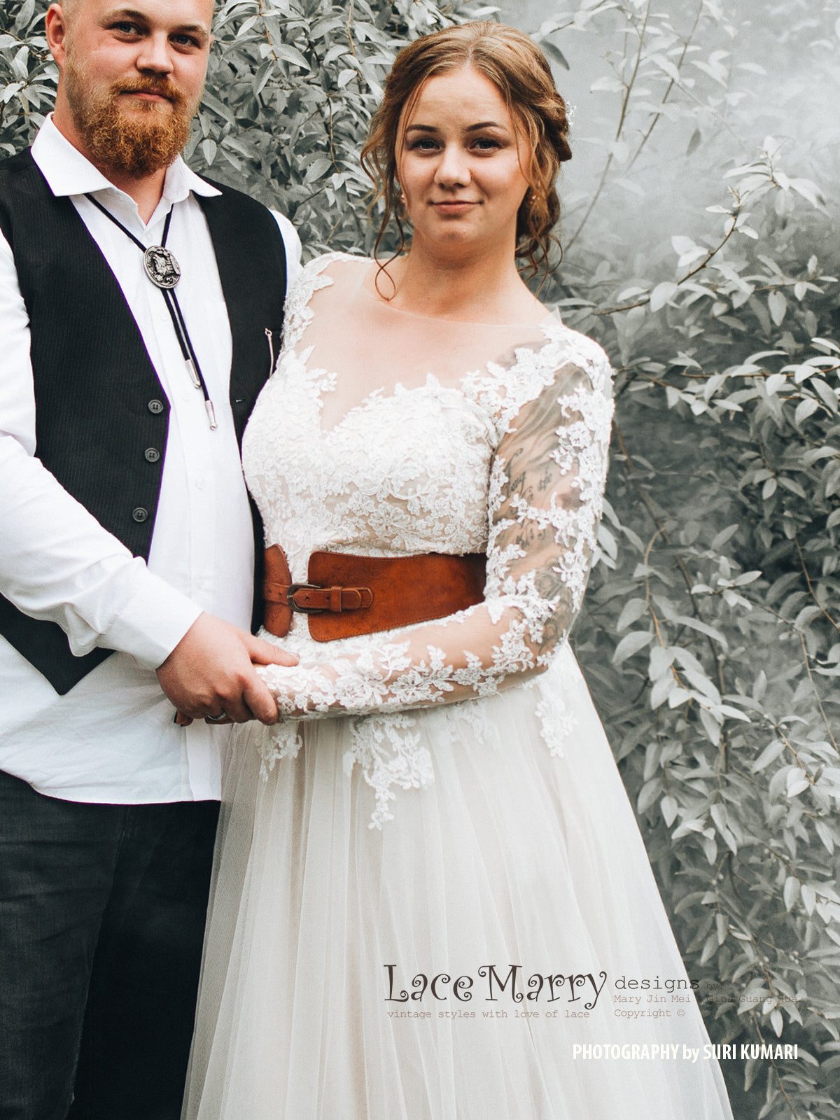 Bohemian Wedding Dress with Long Lace Sleeves