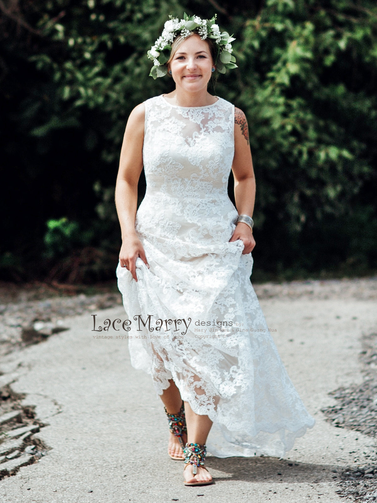 Ivory Floral Lace Wedding Dress