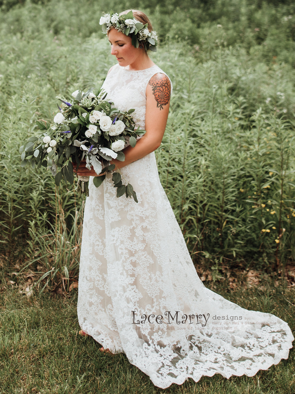 Column Lace Wedding Dress