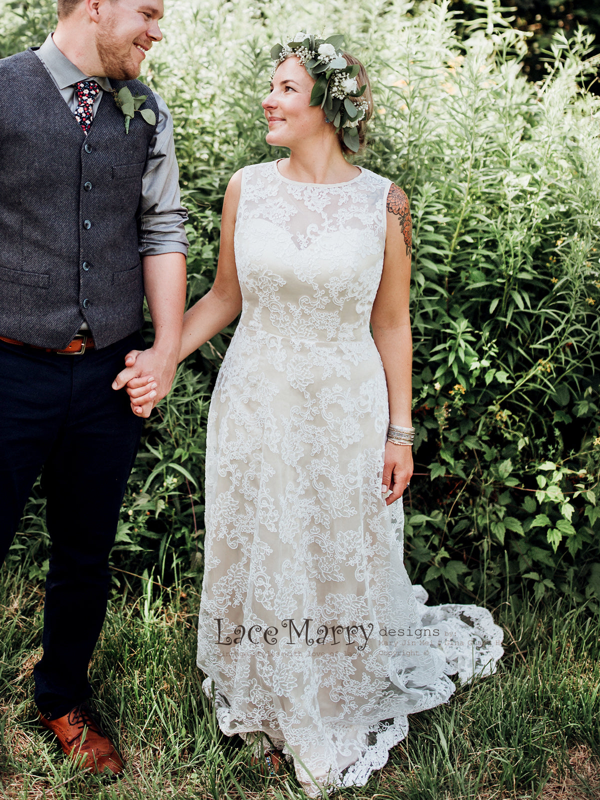 Slim A Line Silhouette Lace Wedding Dress