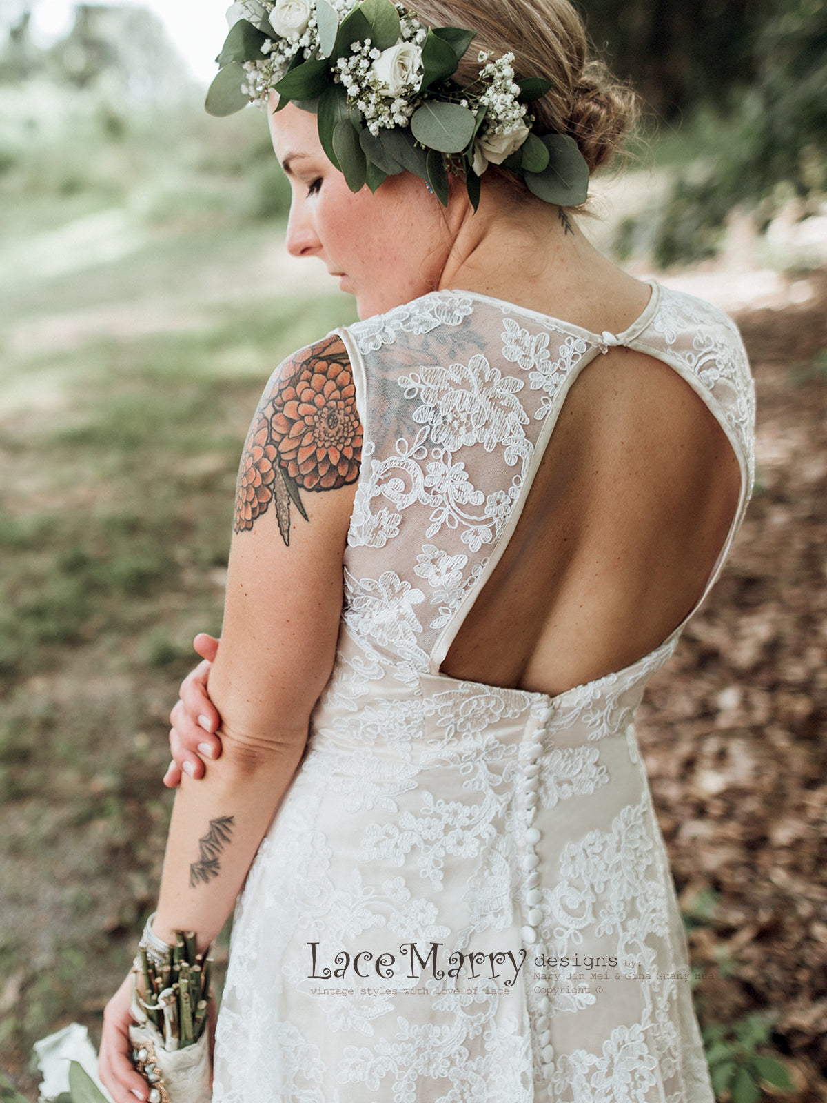 Open Back Lace Wedding Dress with Champagne Satin