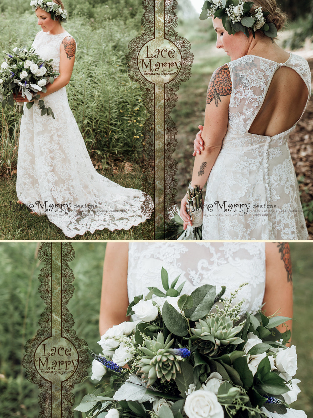 Slim A Line Lace Wedding Dress with Chapel Train