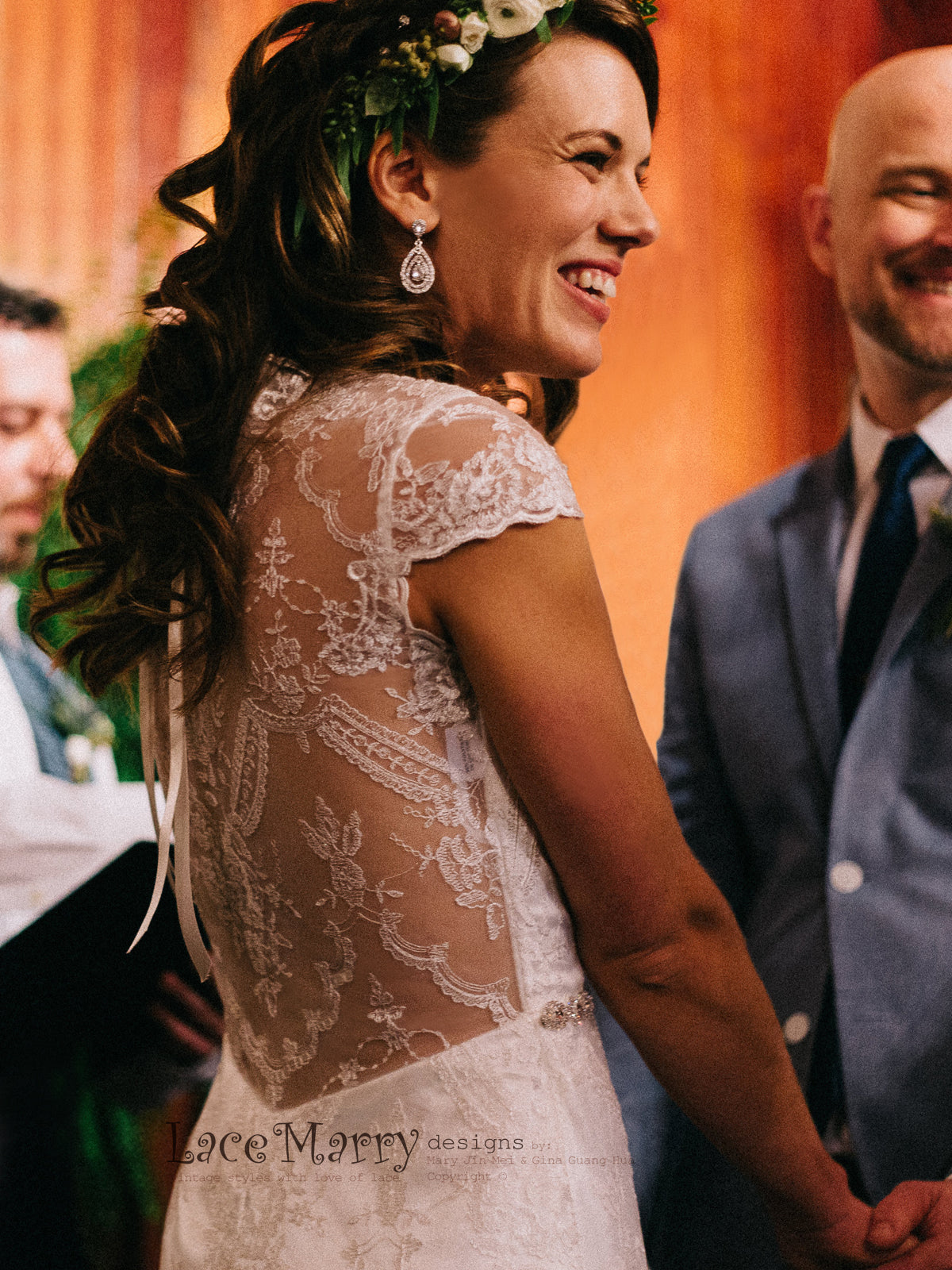 Lace Wedding Dress with Sheer Open Back