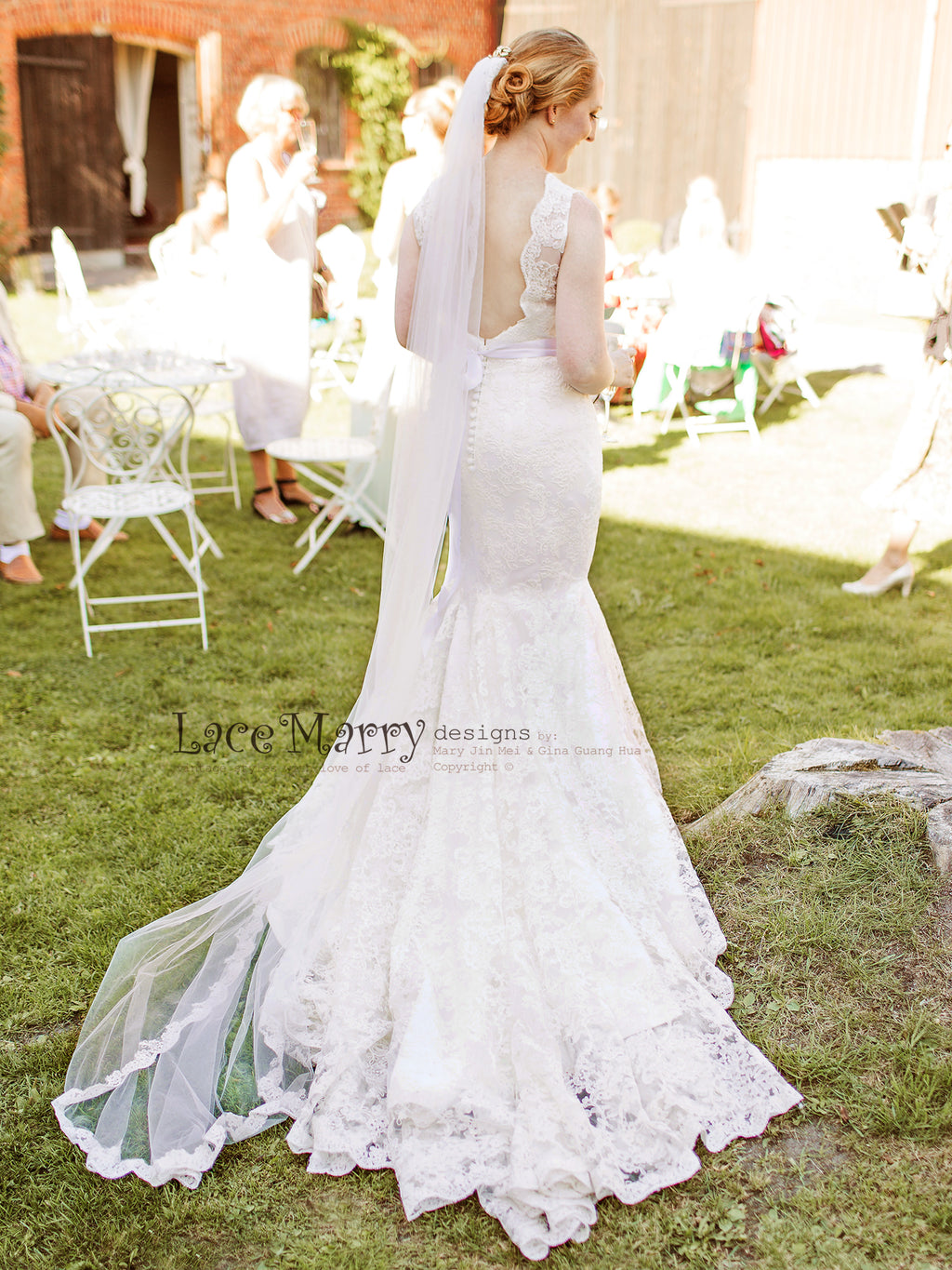 Mermaid Lace Wedding Dress with Deep VCut Open Back, Illusion Boat Neckline Design, Sweetheart Underlay with Scalloped Trim and Chapel Train