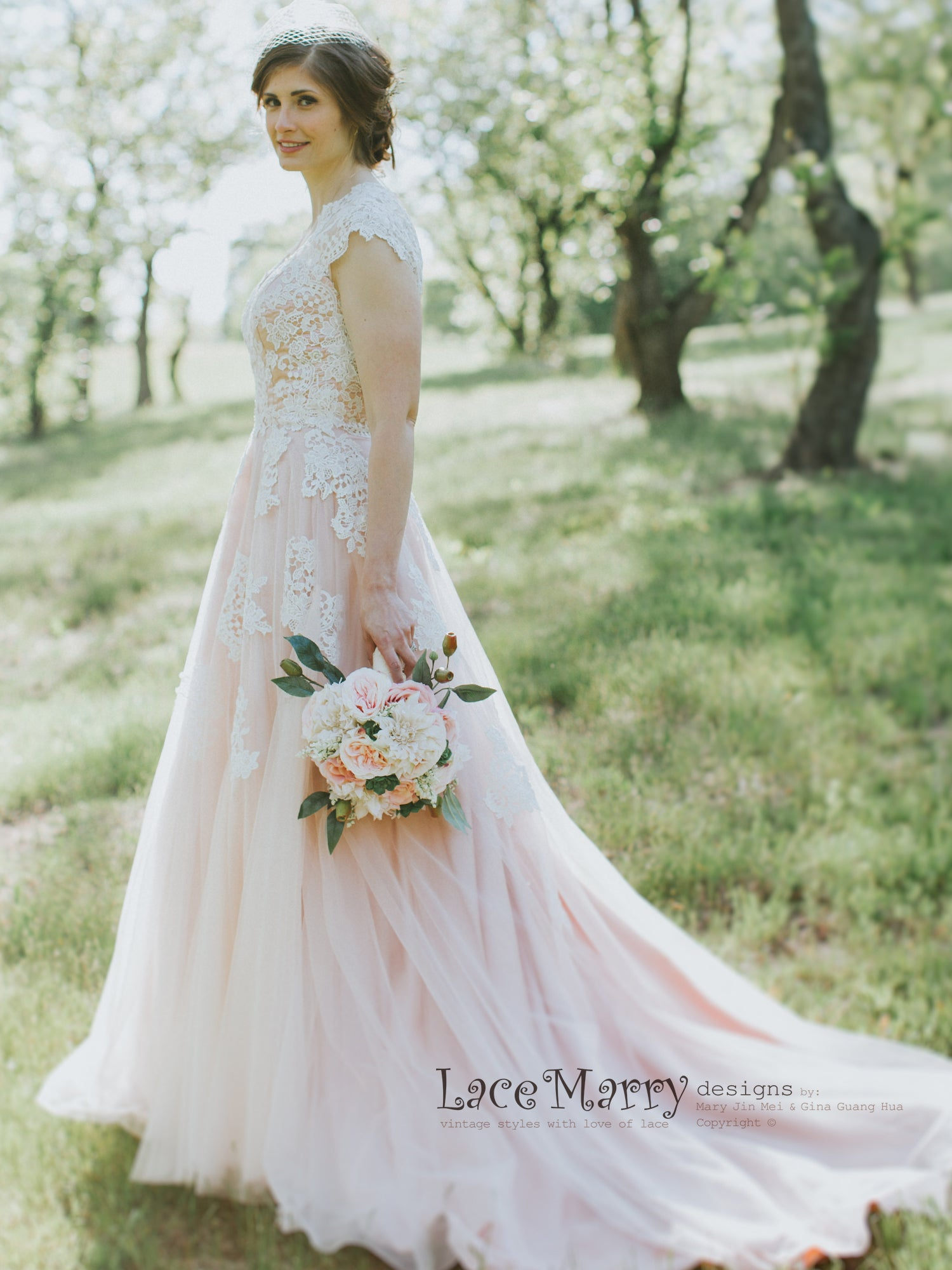 A Line Wedding Dress in Blush Color
