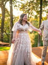 Boho Wedding Dress with Flutter Sleeves and Champagne Underlay