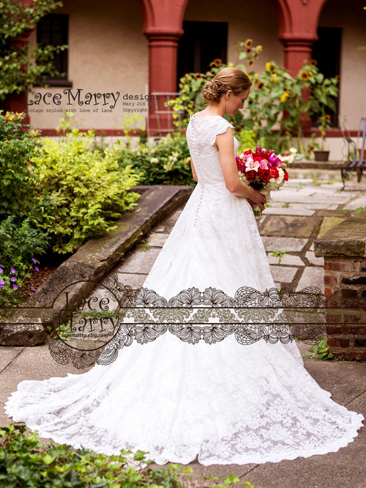 A Line Lace Wedding Dress with Cathedral Train