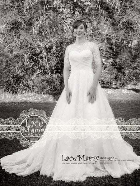 Puffy Ball Gown Wedding Dress With Chappel Train