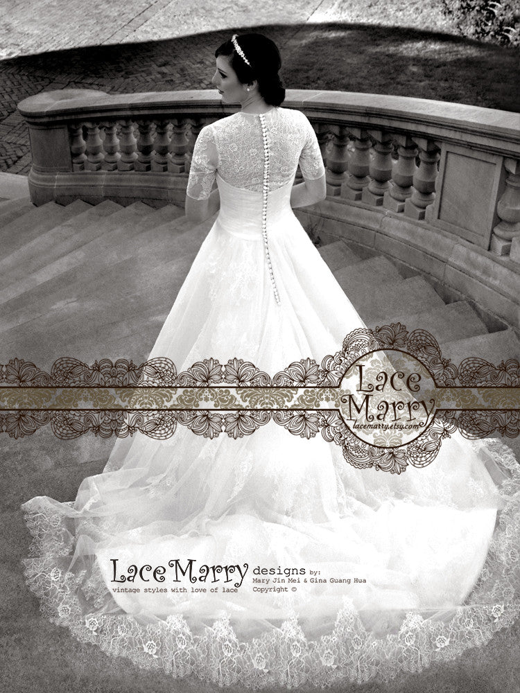 Elbow Length Lace Sleeves Wedding Dress With Chappel Train