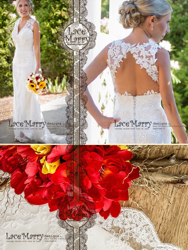 Keyhole Open Back Lace Wedding Dress