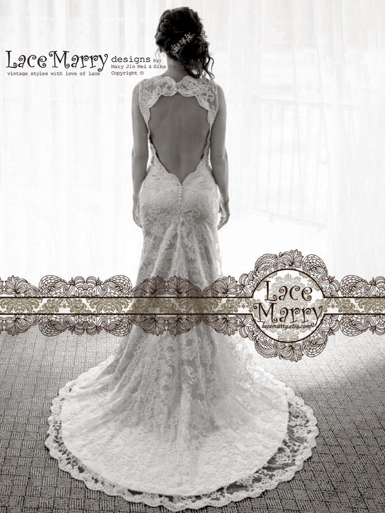 Sexy Open Back Lace Wedding Dress