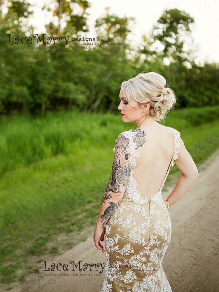 Deep Open Back Lace Wedding Dress