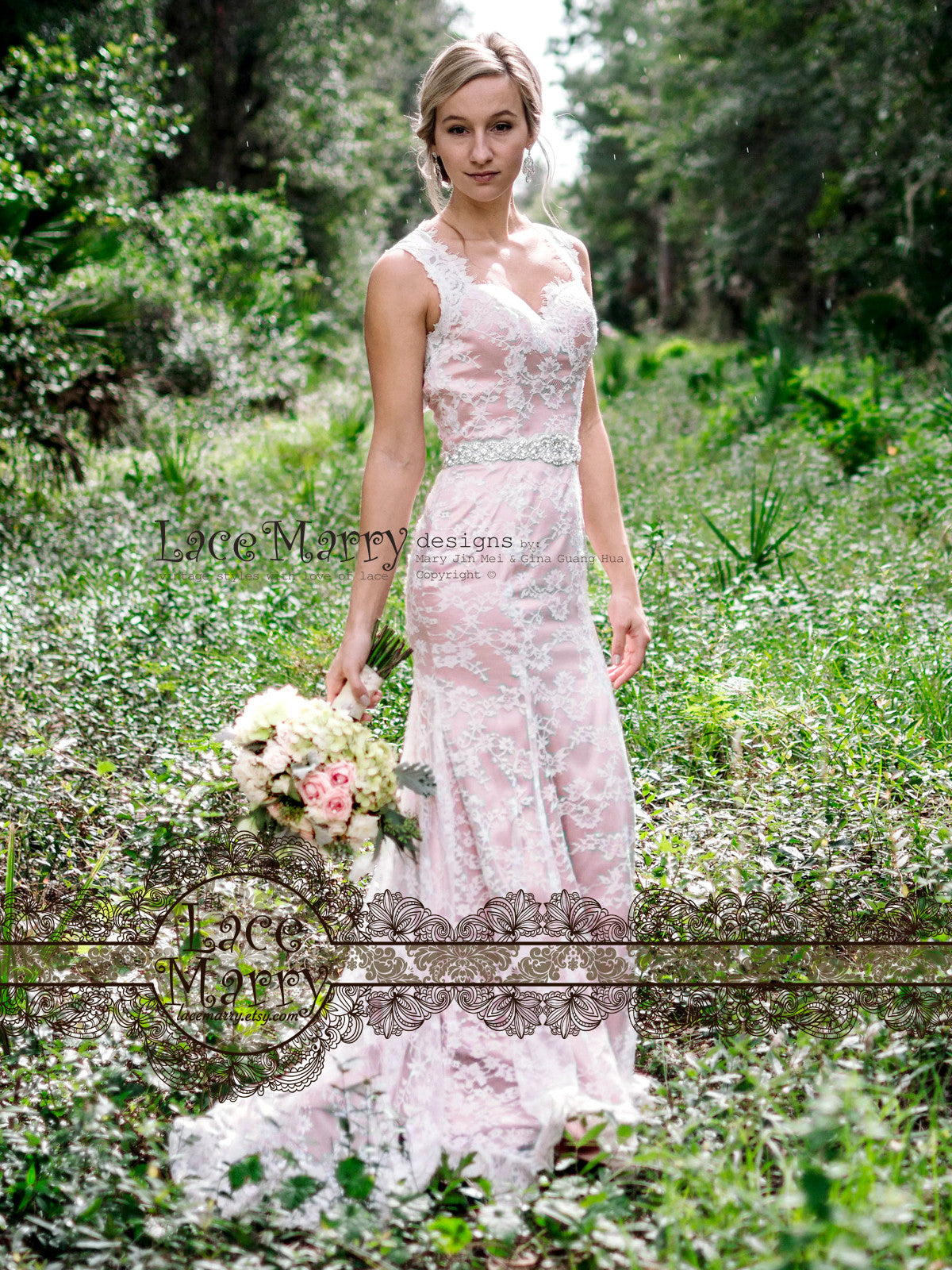Blush Wedding Dress in Boho Style